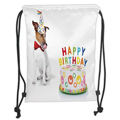 New Fashion Gym Drawstring Backpacks Bags,Birthday Decorations for Kids,Russel Dog Pet with Hat at a Party Celebration with Cake,Multicolor Soft Satin,Adjustable String -