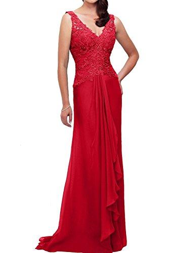Herrlich La mia Festlichkleider A Promkleider Braut Linie Ballkleider Lang Chiffon mit Fuchsia Spitze Rock Rot Abendkleider qEq1rwd