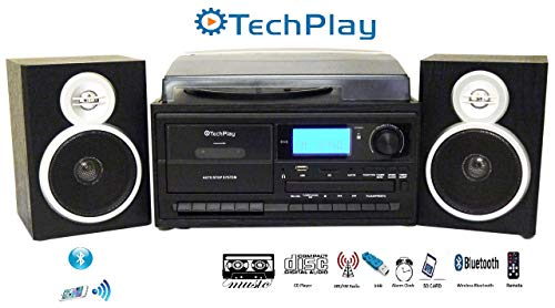 TechPlay ODC128BT 3-Speed Turntable with Cassette Player/Recorder, CD,MP3 SD Card / USB Player, Digital AM / FM Radio, AUX in, Line Out Alarm Clock , Remote and External Speakers (Black Wood) (Stereo With 3 Cd Player)