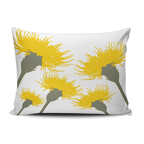 - Boitty Pillow Case Blossom Dandelion Décor White and Yellow Pillowcases Personalized Decorative Funny Throw Pillow Covers Cases Rectangular Boudoir 12x20 Inches One Side