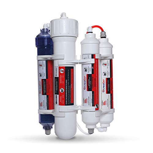 LiquaGen - 4 Stage Reverse Osmosis/Deionization (RO/DI) Portable Space Saver Water Filter System (100 GPD)