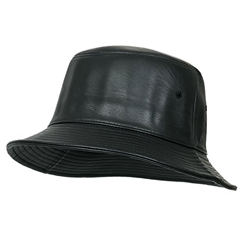 ililily Black Soft Faux Leather Round Top Fedora Vintage Flat Bucket Hat, ()