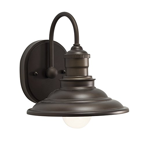 - allen + roth Hainsbrook 1-Light 7.99-in Aged bronze Cone Vanity Light
