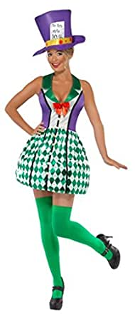 Smiffy's Women's Lady Mad Hatter Costume with Dress and Hat, Multi, Small