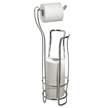 InterDesign Axis Free Standing Toilet Paper Holder for Bathroom - Chrome