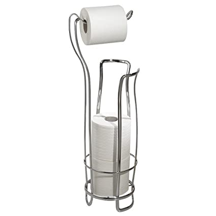 InterDesign Axis Free Standing Toilet Paper Holder U2013 Extra Toilet Roll  Storage For Bathroom, Chrome