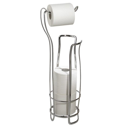 InterDesign Axis Free Standing Toilet Paper Holder – Extra Toilet Roll Storage for Bathroom, Chrome