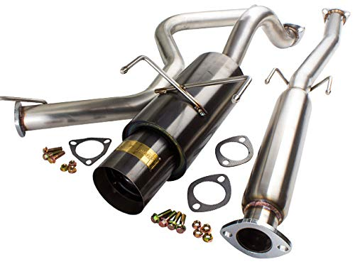 AJP Distributor JDM Gunmetal Black Catback Exhaust Muffler System Stainless Steel Piping Pipe For 1996 1997 1998 1999 2000 96 97 98 99 00 Honda Civic EK Hatchback 3 Door