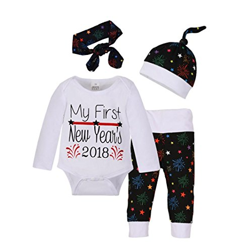 4pcs Baby Boy Girl Christmas Outfit Romper Pants Leggings Hat Clothes Set - 8