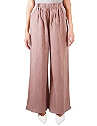 Anna-Kaci Women's Casual Loose Cotton Linen Elastic Waist Pull-On Wide Leg Pants