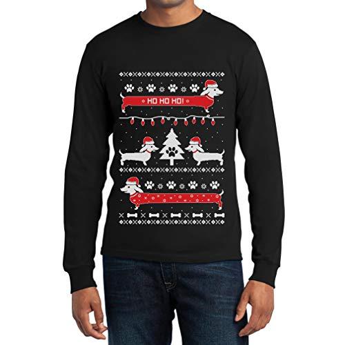Uomo Nella Maglione Maglia Bassotti Lunga Manica Di Shirtgeil Natale Nero Neve Bg0d1