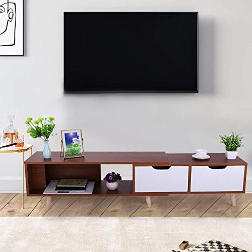 CapsA TV Stand Media Console with Cabinet Doors Simple Modern TV Cabinet Living Room Furniture Mini Telescopic TV Cabinet for Living Room Entertainment Room (Wild Oak)
