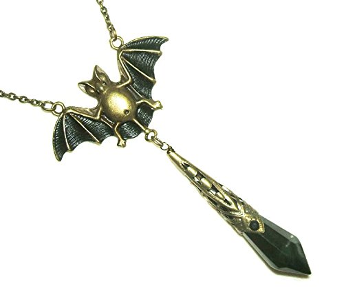 FLYING BAT Necklace Glass Spike Dagger Drop Gothic Vintage Victorian Style