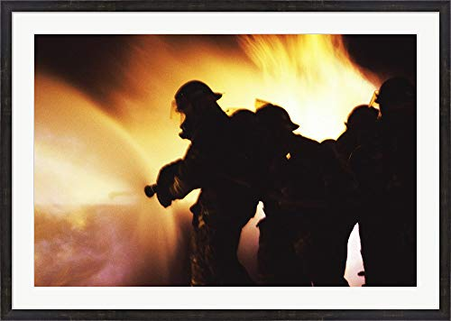 Firefighters Extinguishing A Fire with Water Framed Art Print Wall Picture, Espresso Brown Frame, 48 x 34 inches