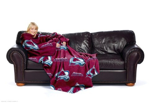 NHL Colorado Avalanche Comfy Throw Blanket with Sleeves - Fleece Colorado Avalanche Blanket