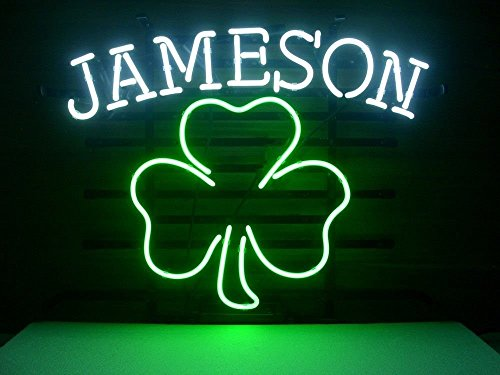 Urby™ Jameson Irish Whiskey Shamrock Real Glass Neon Light Sign Home Beer Bar Pub Recreation Room Game Room Windows Garage Wall Sign 18''x14'' A12-07