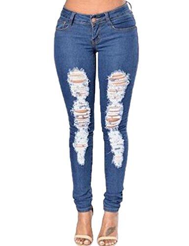 Denim Jeans Slim Azul Vaqueros Agujeros WanYang Mujer Jeans De Lápiz Profundo Flacos Mujeres Pantalones qCwwfFyHR