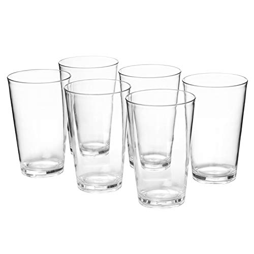 - 18-ounce Plastic Tumblers Water Juice Cups Dishwasher Safe BPA-free Clear Set of 6 Premium Quality Drinking Glasses