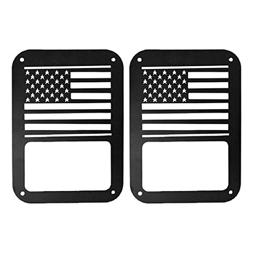 ForceCar USA Flag Style Taillight Cover Tail Light Guards Protectors Covers for for 2007-2017 Jeep Wrangler JK All Series