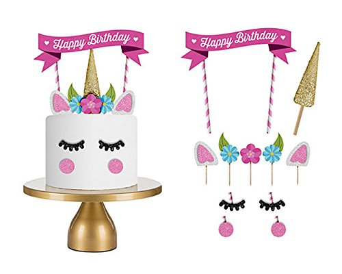 15PCThe Silver Gold Unicorn Birthday Cake Topper Decor Party Small Cute Baby Kids Unicorn Horn Cake Banner Stand Mini Decorations Decal Decorating kit Glitter Rainbow Pop Supplies (15 pcs,Unicorn Set)