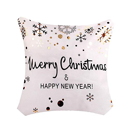 Noon-Sunshine decorative-plaques 45x45cm Pillow Case Christmas Decorations for Home Santa Clause Christmas Deer Cotton Linen Cover,Style 32 ()