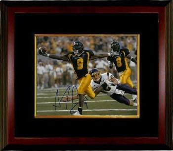 Pacman Jones Autographed Photograph - Adam 8x10#9 Custom Framed navy jersey) - Autographed College Photos