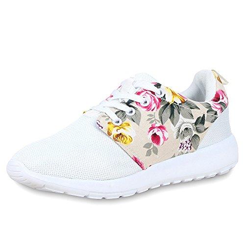 Freizeitschuhe Sportschuhe Herren Sneakers Unisex Weiss fashion Damen Laufschuhe napoli Flache Blumen Profilsohle Schnüren Jennika Sq4nvH00