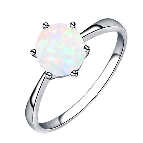 Aunimeifly Women's Simple Jewelry Filled Wedding Engagement Six-Claw Inlay Opal Ring White (Lace Flared Ring)