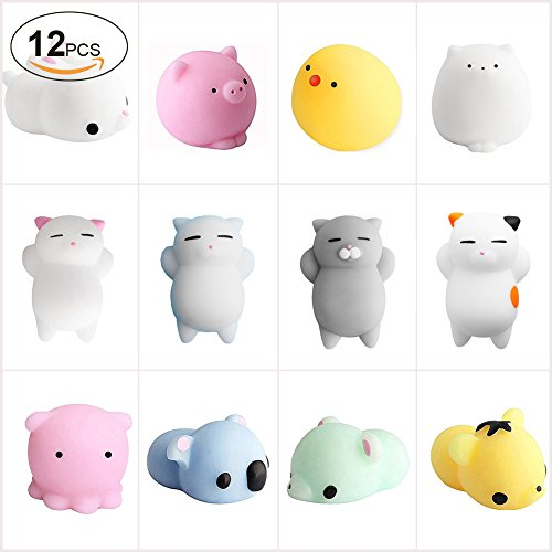 China_Warmlife 12PCS Kawaii Slow Soft Rising Squishy Squeeze Toy, 3D Animal Hand Toy Cute Mini Squishies Fidget Toy Stress Reliever Kids Toy Gift, Accessories of Phone Case