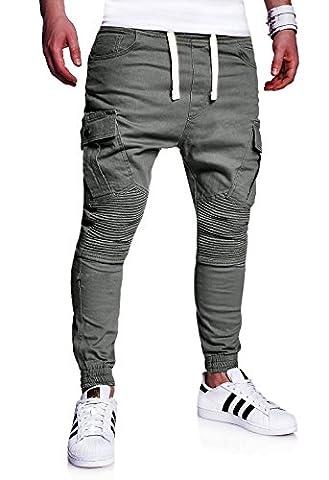 MT Styles Mens Biker Jogging-Jeans Chino Pants RJ-2276 [darkgrey, W36]