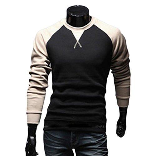 ZEARO Herren Langarm Raglan Sweatshirt Freizeit Sport Pullover Slim Fit T-Shirt Knotrastfarben