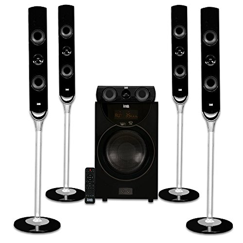 Acoustic Audio AAT2000 Tower 5.1 Home Theater Bluetooth Speaker System with 8″ Powered Subwoofer
