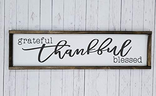 (Grateful, thankful, blessed. Long Sign, over the door sign. Fall decor, Autumn decoration, Farmhouse style, chunky framed sign. hand painted sign)
