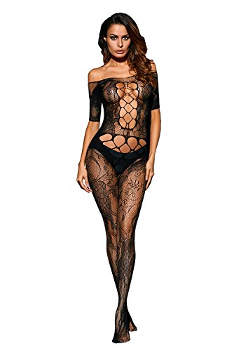 Foryingni Women's Sexy Cutout Off Shoulder Lace Crotchless Bodystocking Lingerie One Size (Cut Out Bodystocking)