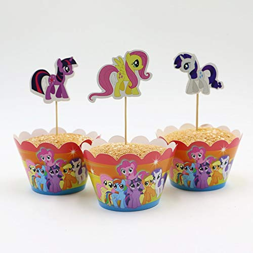 GoldLock Hot Sale My little pony cupcake wrappers and toppers for kids birthday decoration party supplies cake toppers picks]()