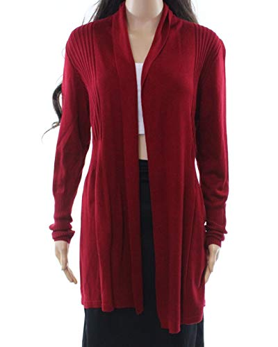 (August Silk Womens Medium Cardigan Ribbed Sweater Red M )