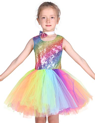 Familus Girls Rainbow Tutu Dress Sequin Dress with Bow Knot Backless Dress ()