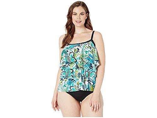 Maxine Of Hollywood Women's Plus-Size 3-Tiered Ruffle Tankini Swimsuit Top, Green//Nolita, 24W (Swimwear Plus Maxine Size)