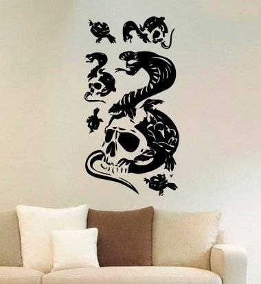 Skulls Vinyl Wall Decals Snakes Death Bones Skeleton Halloween Horror Decal Sticker Vinyl Murals Decors - Wall Decals Snake