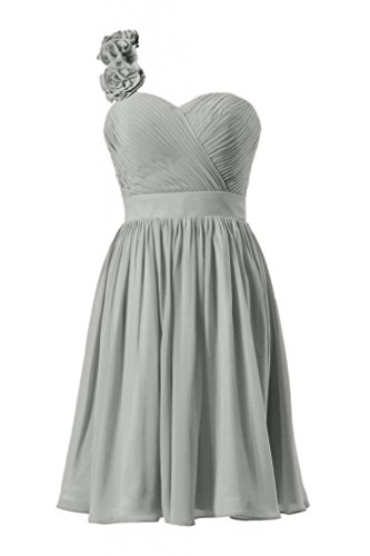 Cocktail Chiffon One 55 Length Dress Knee gray DaisyFormals Shoulder Bridesmaid BM223 xzXdIqq
