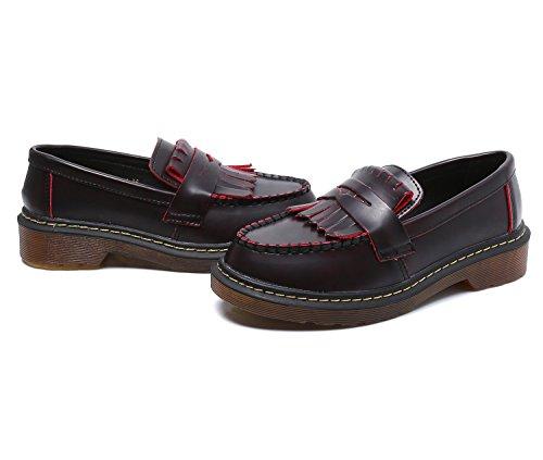 Boat Nappa Classic Smilun Mocassini Frange Flats Red Shoes Lady's qwxOfEnzA