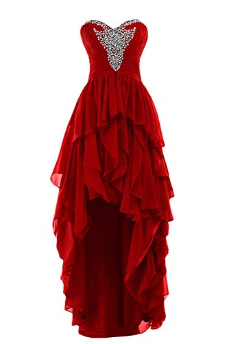 Gowns Fanciest Prom Bridesmaid Red Beaded Women s Tiered Long Dresses High Red Low HHPZw