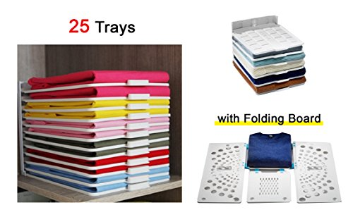 ROICHEN Easy-Tray Closet Organizer Tray (25pcs) with Folding Board.