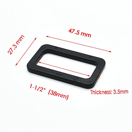 38mm Ring - 10pcs Loops Looploc Buckles Plastic Rectangle Rings Backpack Strap Bag Parts Accessories (1-1/2