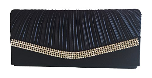 Chicastic Navy Blue Pleated Satin Wedding Evening Bridal Clutch Purse With (Satin Clutch Purse)