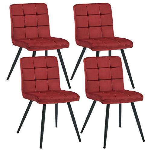 Duhome Set of 4 Assembled Modern Style Dining Chair Mid Century Accent Armless Side Chairs Chair for Kitchen, Dining, Bedroom, Living Room Side Chairs (Red)