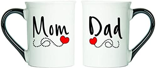 Mom & Dad Mugs, (Heart Scroll) Set Of Two Coffee Cups, Spouse Mugs, Ceramic Mugs, Custom Gifts By Tumbleweed