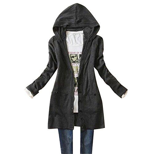 UEB レディース カーディガン カジュアル式 長袖 ニット コート ハット付き 秋物 フリーサイズ 5色 (ダークグレー)