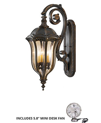 - Feiss OL6004WAL, Baton Rouge Outdoor Wall Sconce Lighting, 240watt, Walnut (Includes Mini Desk Fan)