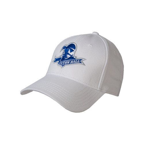 Seton Hall White Heavyweight Twill Pro Style Hat Official Logo
